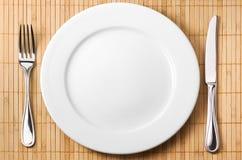 Fourchette, couteau, plaque Images stock