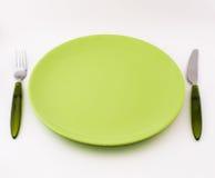 Fourchette, couteau, plaque Photographie stock libre de droits