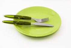 Fourchette, couteau, plaque Photos libres de droits