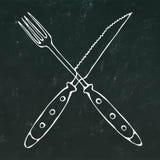 Fourchette croisée au-dessus de couteau de bifteck Icône de nourriture Illustration tirée par la main de vecteur de croquis de gr Photo stock