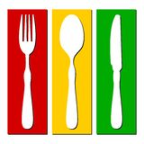 Fourchette, cuillère, couteau Images stock