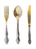 Fourchette, cuillère et couteau photos stock