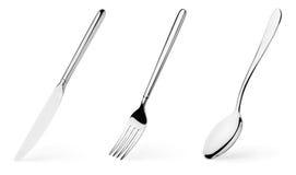 Fourchette, cuillère et couteau images stock