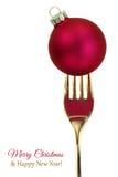 Fourchette d'or avec la boule de Noël images stock