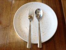 Fourchette de cuillère de plat Photo stock