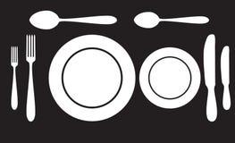 Fourchette de cuillère de plat et icône de couteau images stock