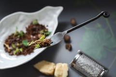 Fourchette de flottement avec le casse-croûte de pain noir et de fromage photos libres de droits