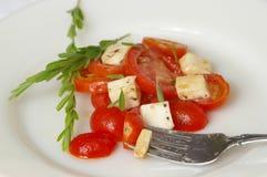 Fourchette de plaque de salade Photos stock