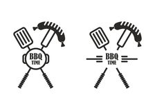 Fourchette de spatule de label de temps de BBQ Photo stock