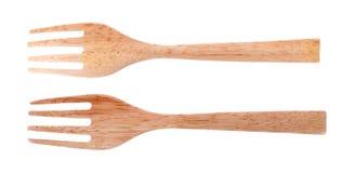 Fourchette en bois d'isolement sur le fond blanc image stock