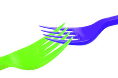 Fourchette en plastique Photo stock