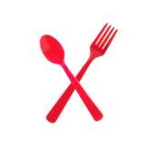 Fourchette en plastique avec la cuillère photo libre de droits