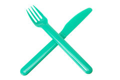 Fourchette et couteau en plastique Photo stock