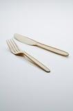 Fourchette et couteau en plastique Photographie stock libre de droits