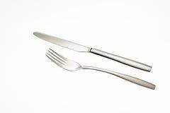 Fourchette et couteau inoxydables Image libre de droits