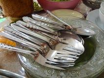Fourchette et cuillère Photos libres de droits