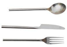 Fourchette et cuillère de couteau de couverts Tous d'isolement séparément avec le dossier de png inclus Image stock