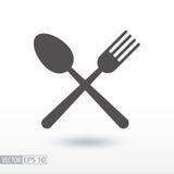 Fourchette et cuillère - icône plate Nourriture de signe Photos libres de droits