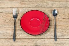 Fourchette et plat de cuillère de vue supérieure Photos stock