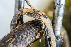 Fourchette sale de suspension de bicyclette Photographie stock
