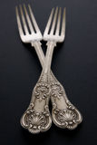 Fourchettes argentées antiques Photos stock