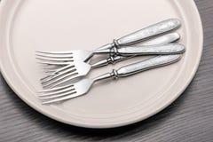 Fourchettes dans un plat Photos stock