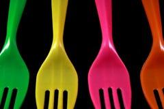 Fourchettes en couleurs d'isolement Photographie stock libre de droits