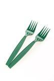 Fourchettes en plastique vertes Photographie stock