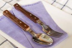 Fourchettes et spoonson un plat Photographie stock