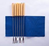 Fourchettes sur la serviette Images libres de droits