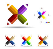 Fourend pencil. Vector illustration of color pencils with four ends Royalty Free Stock Photos