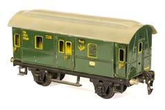 Fourgon allemand de poteau de chemin de fer des années 30 de jouet de fer blanc Photo libre de droits