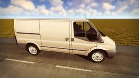 Fourgon blanc voyageant sur le rendu des routes 3d Images libres de droits