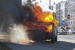 Fourgon brûlant Photos libres de droits