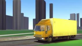 Fourgon de livraison voyageant sur le rendu des routes 3d Photographie stock libre de droits
