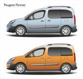 Fourgon de message publicitaire du combi 2015 d'associé de Peugeot Image libre de droits