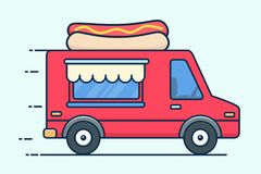 Fourgon de nourriture de rue avec les hot-dogs Camion de nourriture de hot-dog Illustration plate de vecteur de conception d'isol illustration libre de droits