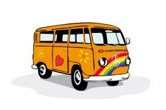 Fourgon hippie de vintage coloré Image libre de droits