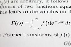 The Fourier transform formula Royalty Free Stock Photography
