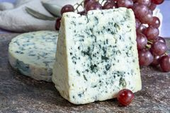 Fourme Ambert and Blue Auvergne semi-hard AOP French blue cheeses made from raw cow milk in Auvergne, France. Pieces of Fourme Ambert and Blue Auvergne semi-hard stock image