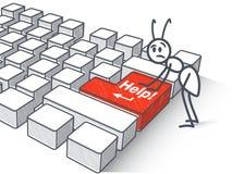 Fourmi et bouton d'aide Image stock