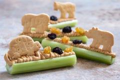 Fourmis sur un casse-croûte de rondin avec le beurre, les raisins secs et le biscuit d'arachide de céleri photo libre de droits