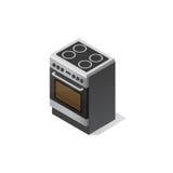 Fourneau électrique de cuisine Illustration isométrique de vecteur Photo libre de droits