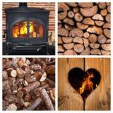 Fourneau et rondins brûlants en bois Images stock