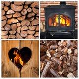Fourneau et rondins brûlants en bois Photographie stock libre de droits