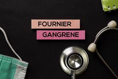 Fournier Gangrene on top view black table and Healthcare/medical concept stock images