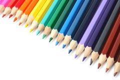 Fournitures de bureau d'école et Fond d'école Crayons colorés sur le blanc Photographie stock libre de droits