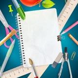 Fournitures de bureau d'école sur le fond bleu ENV 10 illustration de vecteur