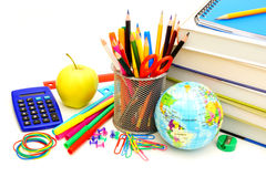 Fournitures scolaires photographie stock