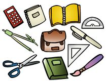 Fournitures scolaires image stock